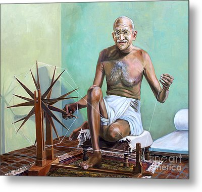 Mahatma Gandhi Spinning Metal Print by Dominique Amendola