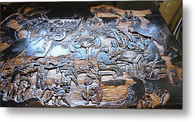 Metal Print featuring the relief Mahjhong In The Park by Debbi Saccomanno Chan