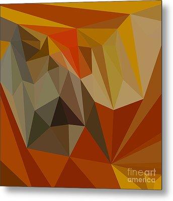 Mahogany Brown Abstract Low Polygon Background Metal Print by Aloysius Patrimonio