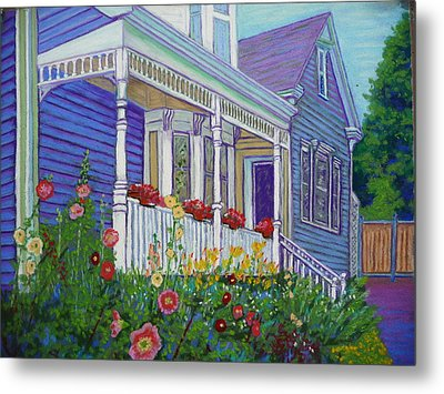 Mahone Bay Hollyhocks Metal Print by Rae  Smith