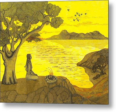 Maiden And The Mountains Metal Print by Judy Cheryl Newcomb
