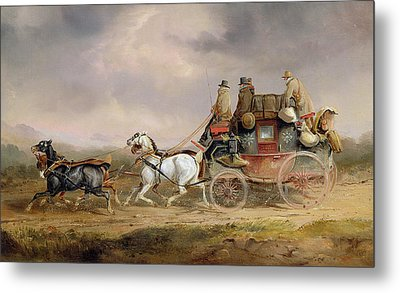 Mail Coaches On The Road - The Louth-london Royal Mail Progressing At Speed Metal Print by Charles Cooper Henderson