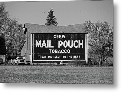 Metal Print featuring the photograph Mail Pouch Tobacco In Black And White by Michiale Schneider