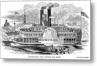 Mail Steamboat, 1854. /nthe Louisville Mail Company Steamboat Jacob Strader. Wood Engraving, 1854 Metal Print by Granger