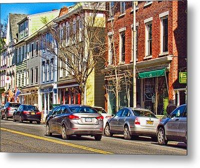 Main Street In Catskill Ny Metal Print by Nancy De Flon