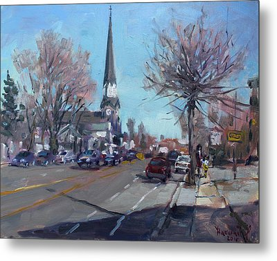 Main Street In Williamsville Metal Print by Ylli Haruni