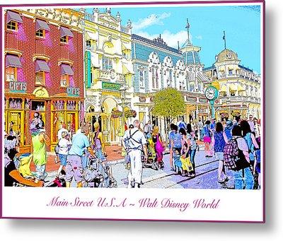 Main Street Usa Walt Disney World Poster Print Metal Print by A Gurmankin