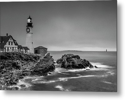 Maine Cape Elizabeth Lighthouse Aka Portland Headlight In Bw Metal Print by Ranjay Mitra