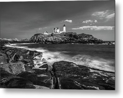 Metal Print featuring the photograph Maine Cape Neddick Lighthouse In Bw by Ranjay Mitra