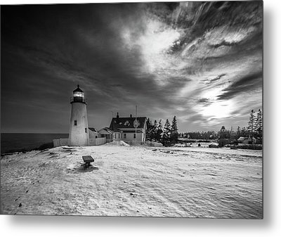Metal Print featuring the photograph Maine Coastal Storm Over Pemaquid Lighthouse by Ranjay Mitra