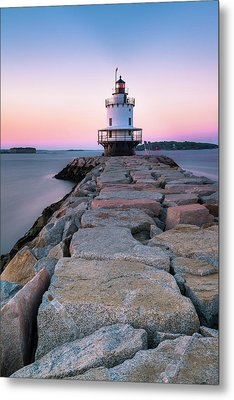 Metal Print featuring the photograph Maine Coastal Sunset Over The Spring Breakwater Lighthouse by Ranjay Mitra