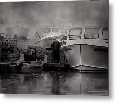 Maine Fog And Fisherman Metal Print by Bob Orsillo