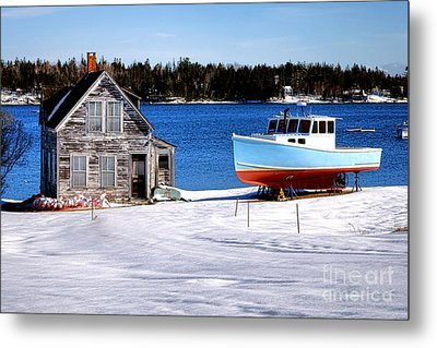 Metal Print featuring the photograph Maine Harbor Winter Scene by Olivier Le Queinec