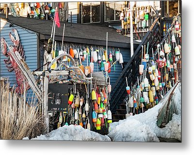 Metal Print featuring the photograph Maine Lobster Shack In Winter by Ranjay Mitra