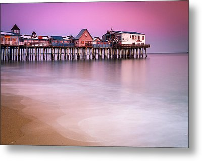 Metal Print featuring the photograph Maine Old Orchard Beach Pier Sunset  by Ranjay Mitra