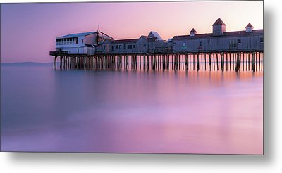 Maine Oob Pier At Sunset Panorama Metal Print