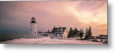 Maine Pemaquid Lighthouse After Winter Snow Storm Metal Print by Ranjay Mitra