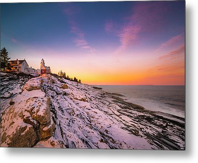 Metal Print featuring the photograph Maine Pemaquid Lighthouse In Winter Snow by Ranjay Mitra