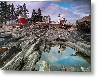 Maine Pemaquid Lighthouse Reflection Metal Print