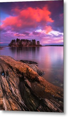 Maine Pound Of Tea Island Sunset At Freeport Metal Print by Ranjay Mitra