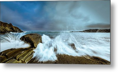 Maine Rocky Coast During Storm At Two Lights Metal Print by Ranjay Mitra
