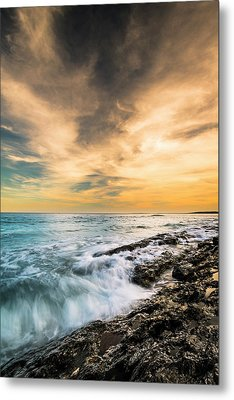 Metal Print featuring the photograph Maine Rocky Coastal Sunset by Ranjay Mitra