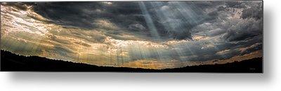 Maine Skyscape God Rays Over Auburn Metal Print by Bob Orsillo