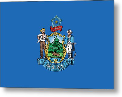 Maine State Flag Metal Print by American School
