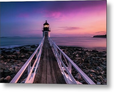 Maine Sunset At Marshall Point Lighthouse Metal Print by Ranjay Mitra