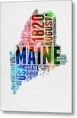 Maine Watercolor Word Cloud  Metal Print