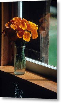 Maine Windowsill Metal Print by Laurie Paci