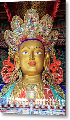 Metal Print featuring the photograph Maitreya Buddha Statue by Alexey Stiop