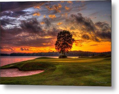Majestic Sunset Golf The Landing Reynolds Plantation Lake Oconee Georgia Metal Print by Reid Callaway