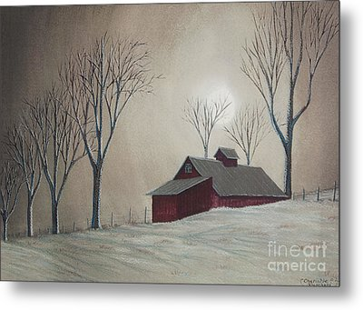 Majestic Winter Night Metal Print by Charlotte Blanchard