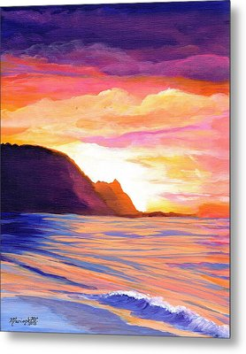 Metal Print featuring the painting Makana Sunset by Marionette Taboniar