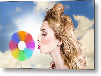 Makeup Beauty Girl Blowing Hair Colors Palette Metal Print