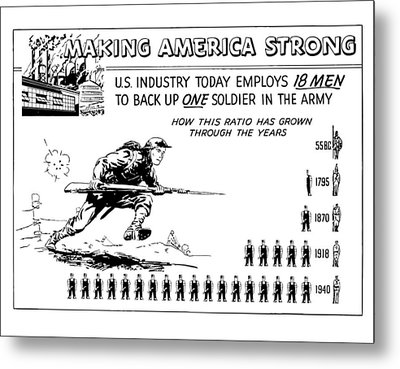 Making America Strong Cartoon Metal Print by War Is Hell Store