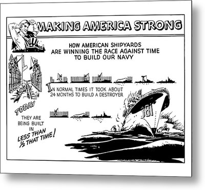 Making America Strong Ww2 Cartoon Metal Print by War Is Hell Store