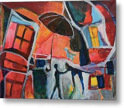 Metal Print featuring the painting Making Friends Under The Umbrella by Susan Stone