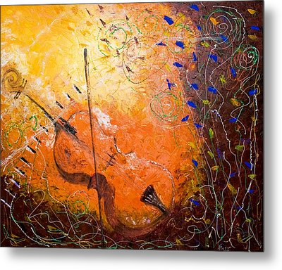 Metal Print featuring the painting Making Melody by Piety Dsilva