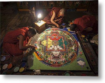 Making Of Mandala Metal Print by Hitendra SINKAR
