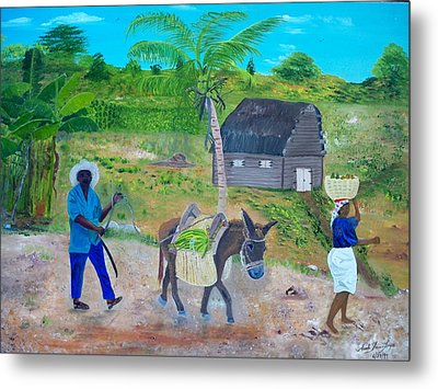 Metal Print featuring the painting Making Way For The Donkey by Nicole Jean-Louis