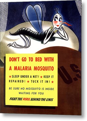 Malaria Mosquito Metal Print by War Is Hell Store