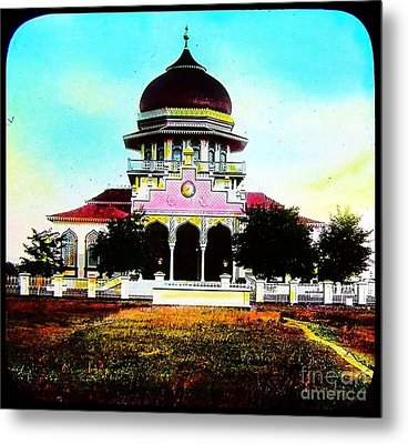 Malay Mosque Singapore Circa 1910 Metal Print by Peter Gumaer Ogden