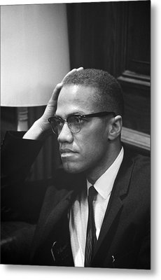 Malcolm X, Malcolm X Waits At Martin Metal Print by Everett
