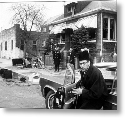 Malcolm X, Returns Home After His House Metal Print by Everett