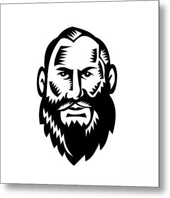 Male Big Beard Woodcut Metal Print by Aloysius Patrimonio