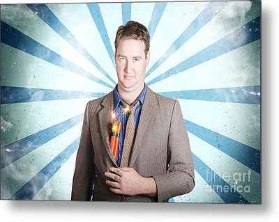 Male Business Person With Bombs. Power Struggle Metal Print
