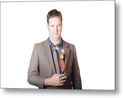 Male Business Person With Explosives In Jacket Metal Print by Jorgo Photography - Wall Art Gallery