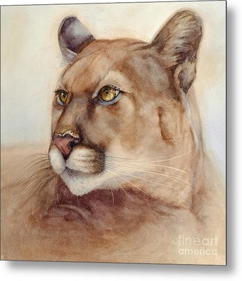 Metal Print featuring the painting Male Cougar by Bonnie Rinier